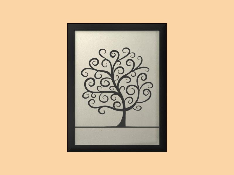 Svatební strom 2 v rámu 34 x 44 cm