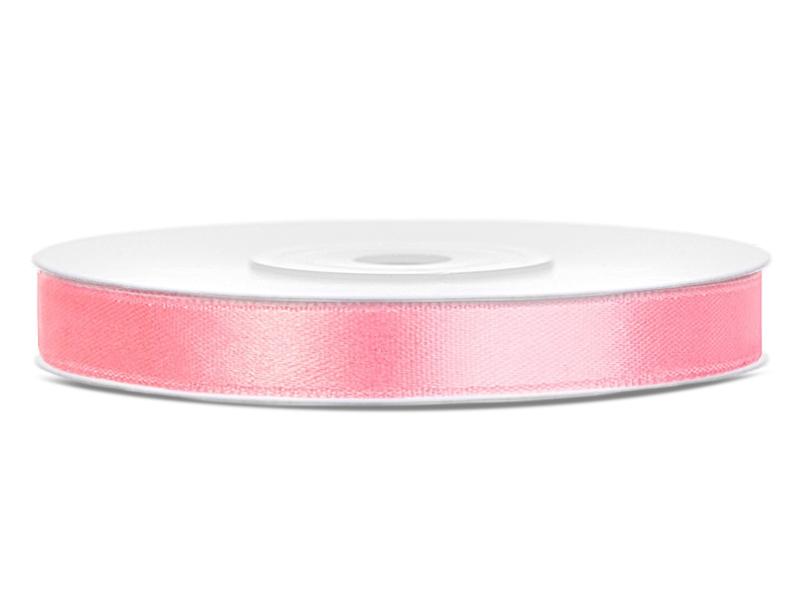 Světle růžové saténové stuhy - 25 m / 1,2 cm