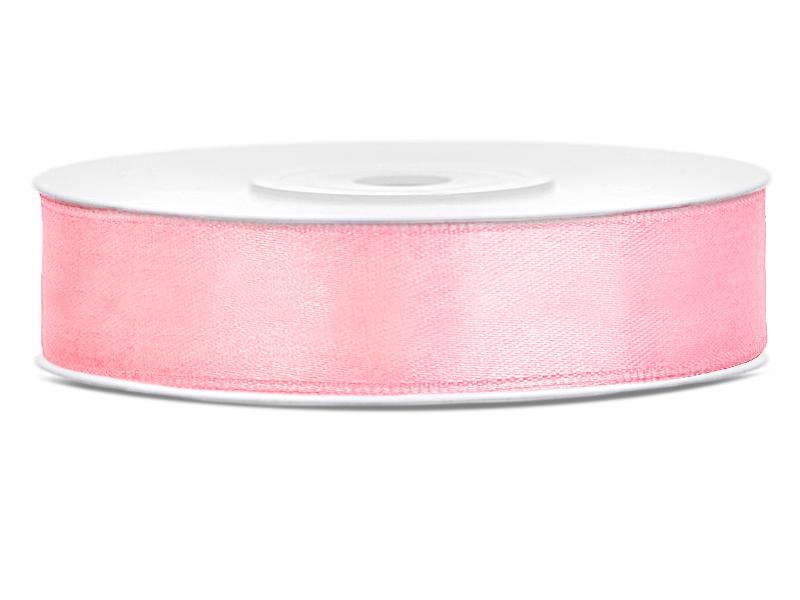 Světle růžové saténové stuhy - 25 m / 2,5 cm