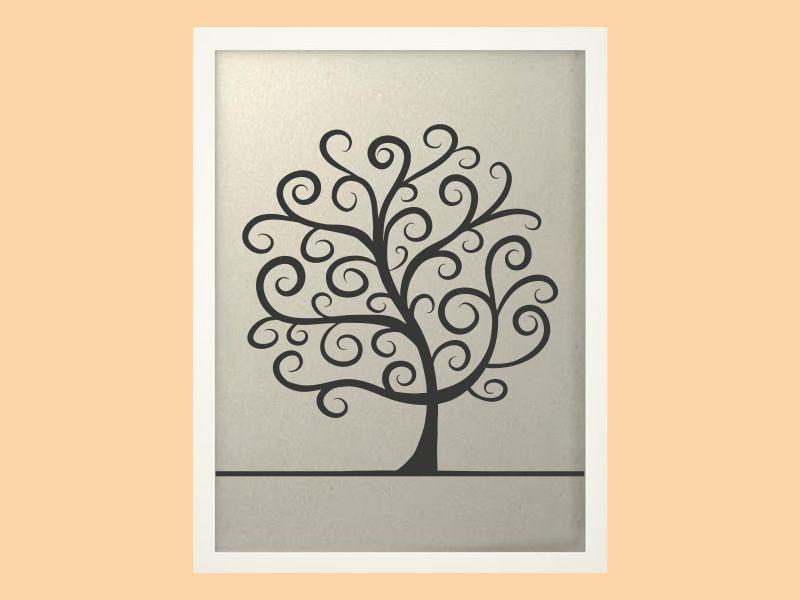 Svatební strom 2 v bílém rámu 43 x 53 cm