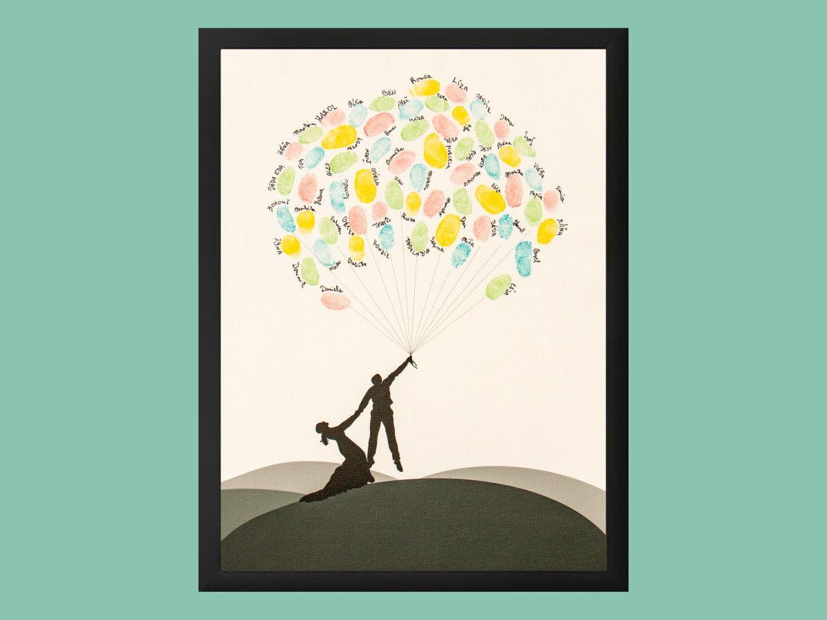 Svatební balónky hostů v rámu 43 x 53 cm
