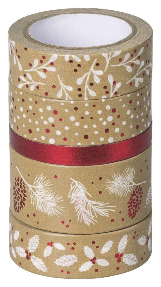 Ozdobné lepicí pásky - 5 červených papírových washi pásek