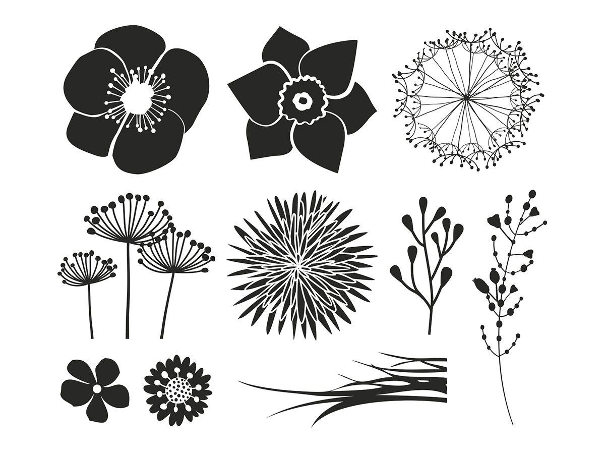 Dřevěná sada 10 razítek - Květiny