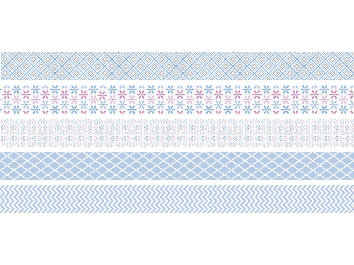 Sada 5 ozdobných lepicích barevných pásek