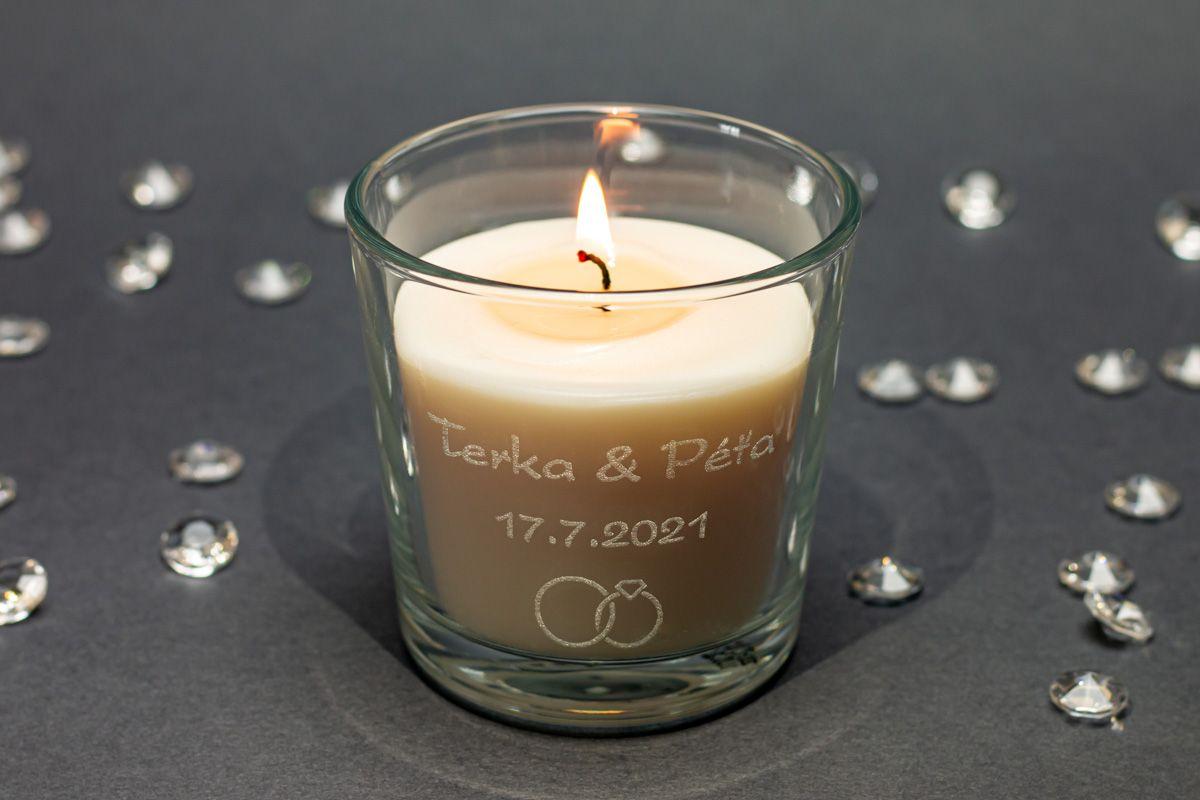 Vonné svíčky ve skle se jmény - vanilka
