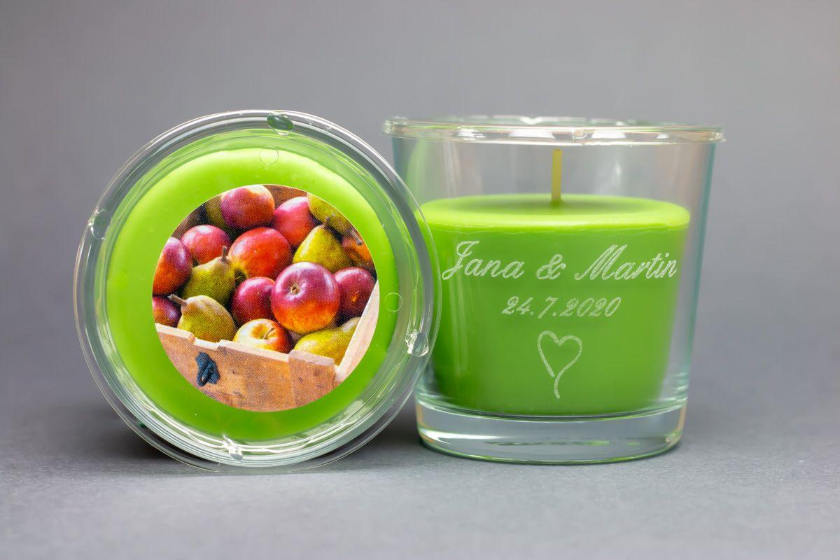 Vonné svíčky ve skle se jmény - jablko a hruška