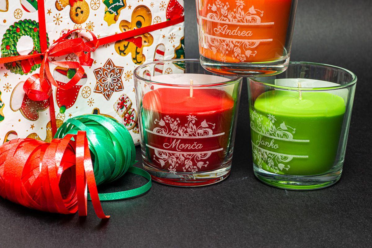 Vonné svíčky ve skle se jmény - broskev a pomeranč