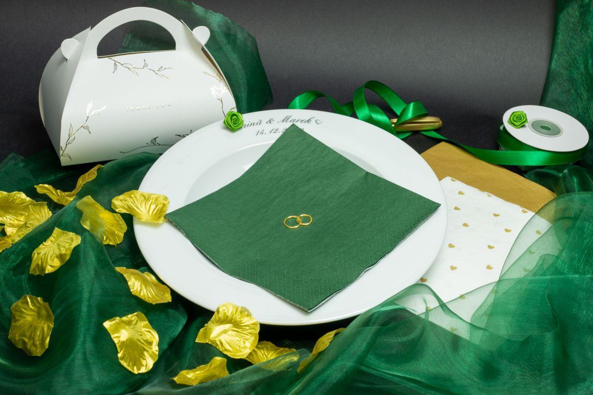 Svatební ubrousky Premium - tmavě zelené