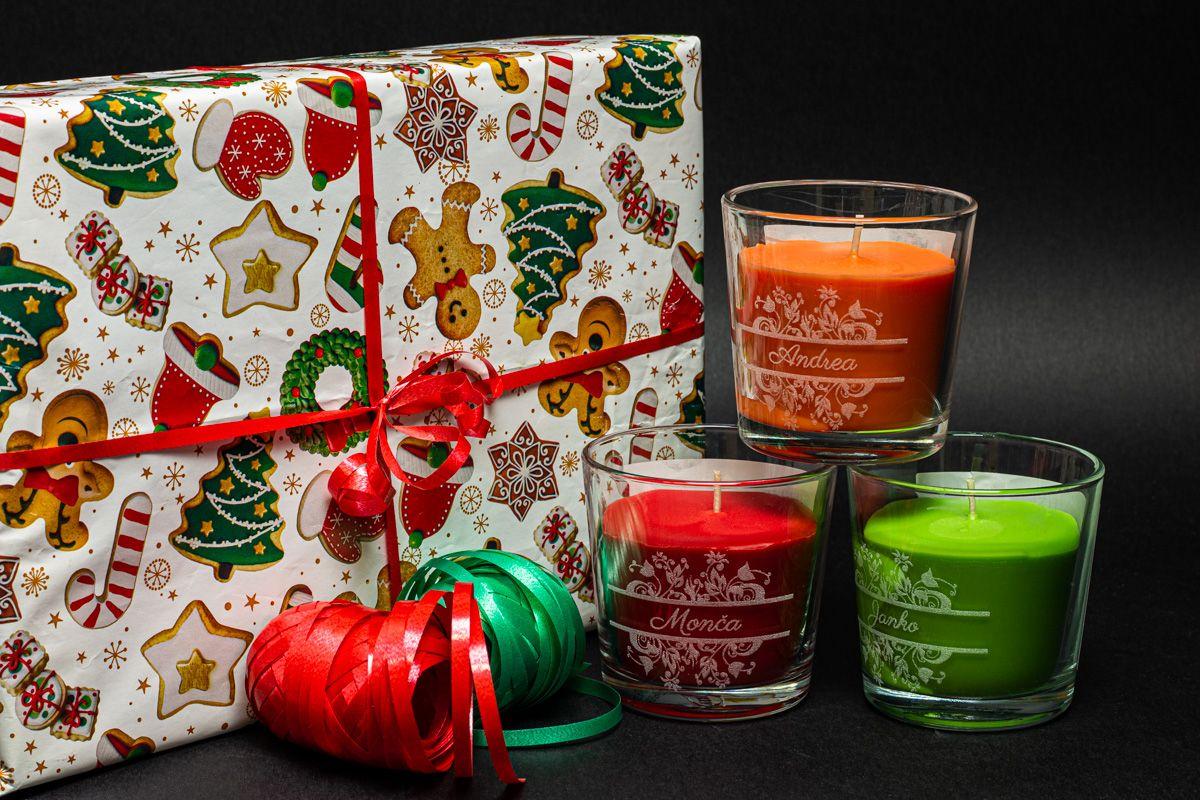Vonné svíčky se jmény - broskev a pomeranč - od 2 ks