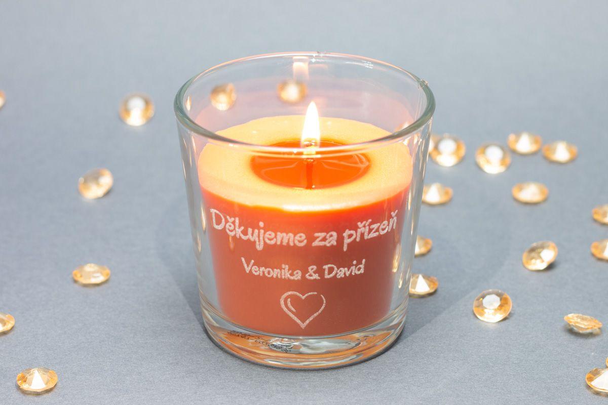 Vonné svíčky se jmény - broskev a pomeranč - od 6 ks