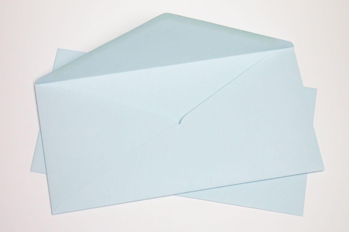 Silné obálky DL na svatební oznámení - baby blue