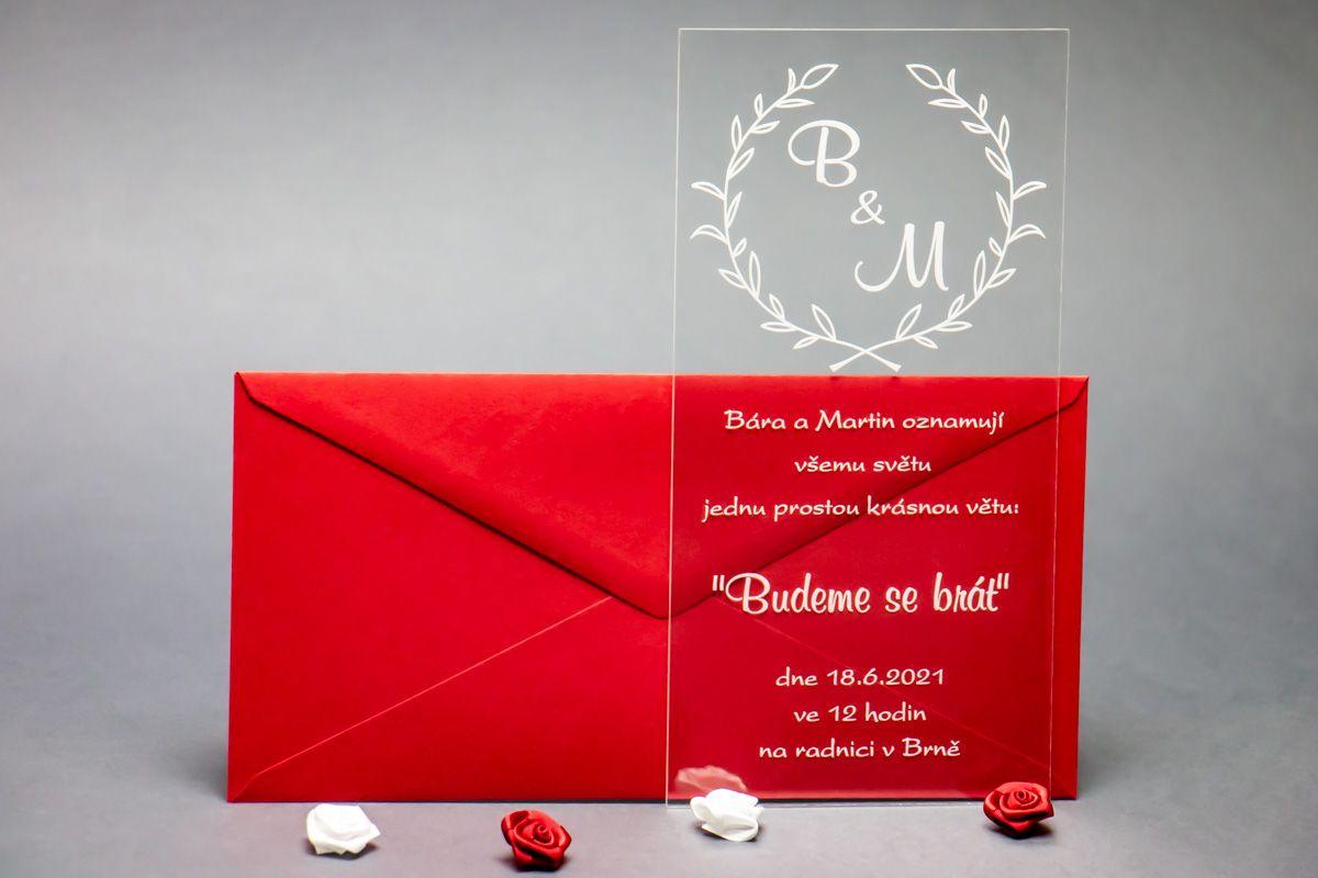 Originální svatební oznámení z plexi - Ratolest - od 10 kusů