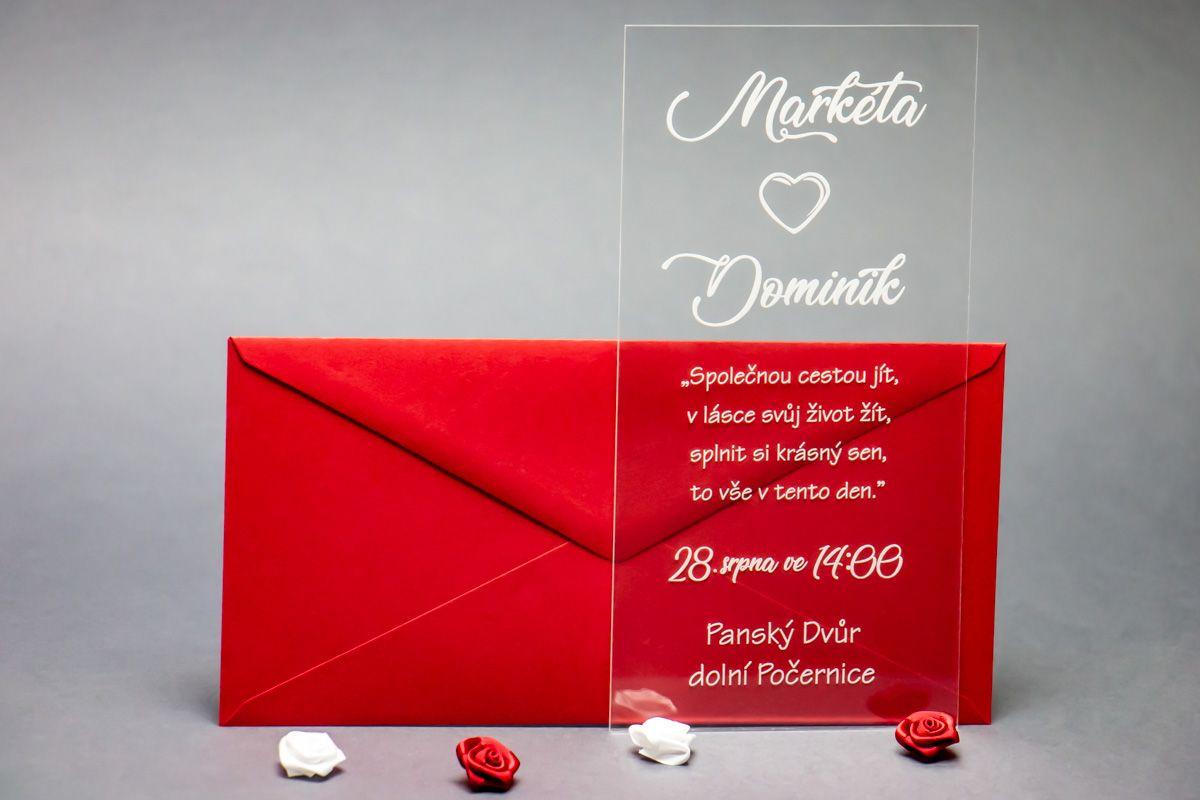 Originální svatební oznámení z plexi - Esence