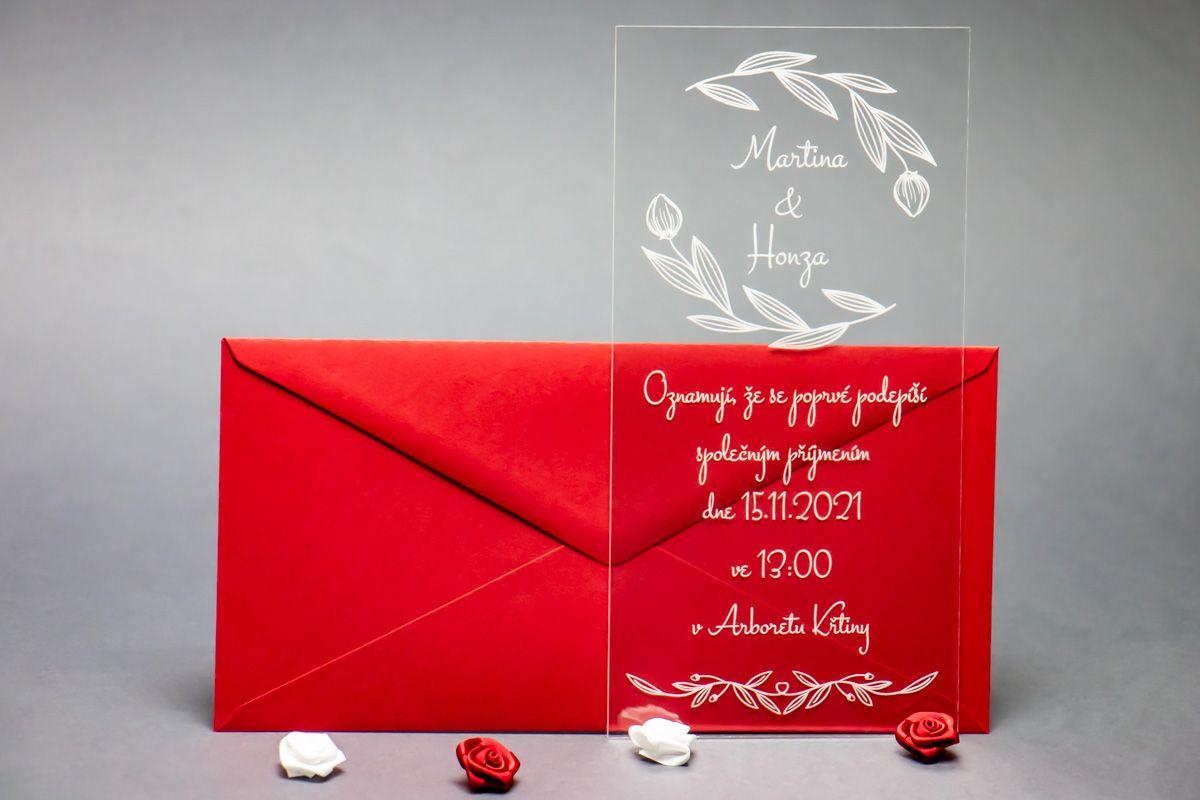 Originální svatební oznámení z plexi - Poupě