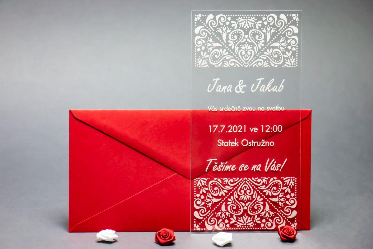 Originální svatební oznámení z plexi - Ornamenty
