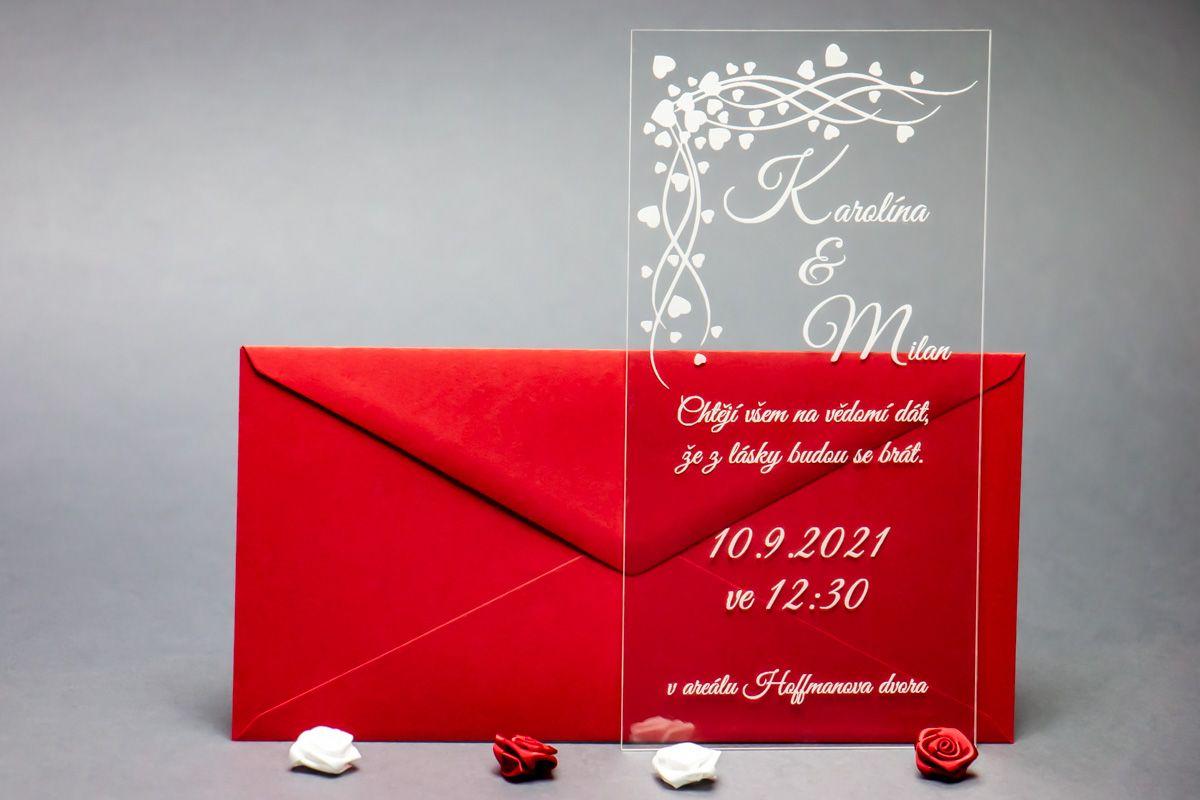Originální svatební oznámení z plexi - Srdcový závoj