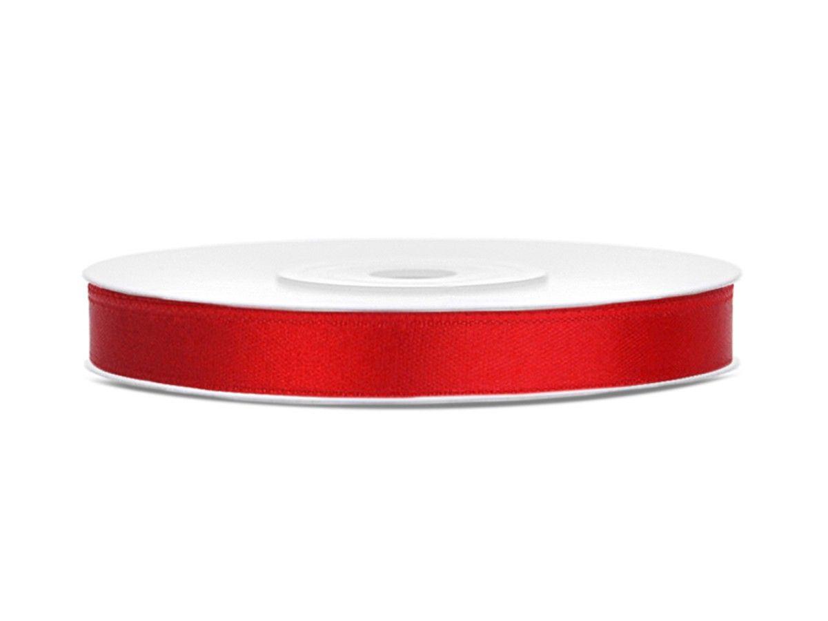 Červené saténové stuhy - 25 m / 1,2 cm
