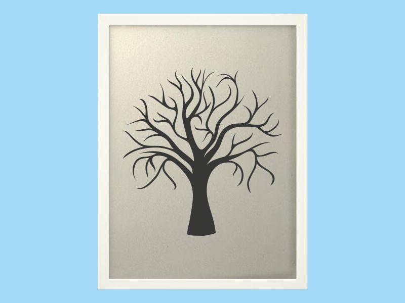 Svatební strom 1 v bílém rámu 43 x 53 cm