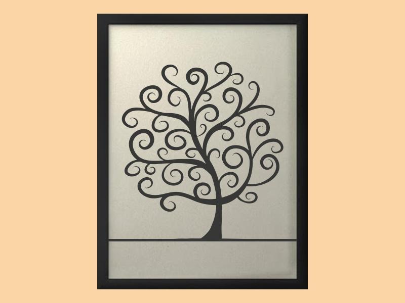 Svatební strom 2 v rámu 43 x 53 cm