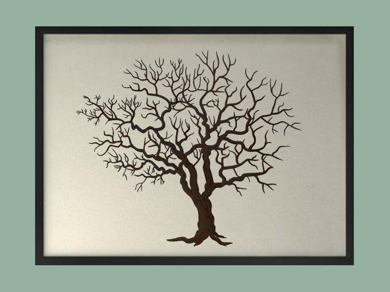 Svatební strom 3 v rámu 73 x 53 cm