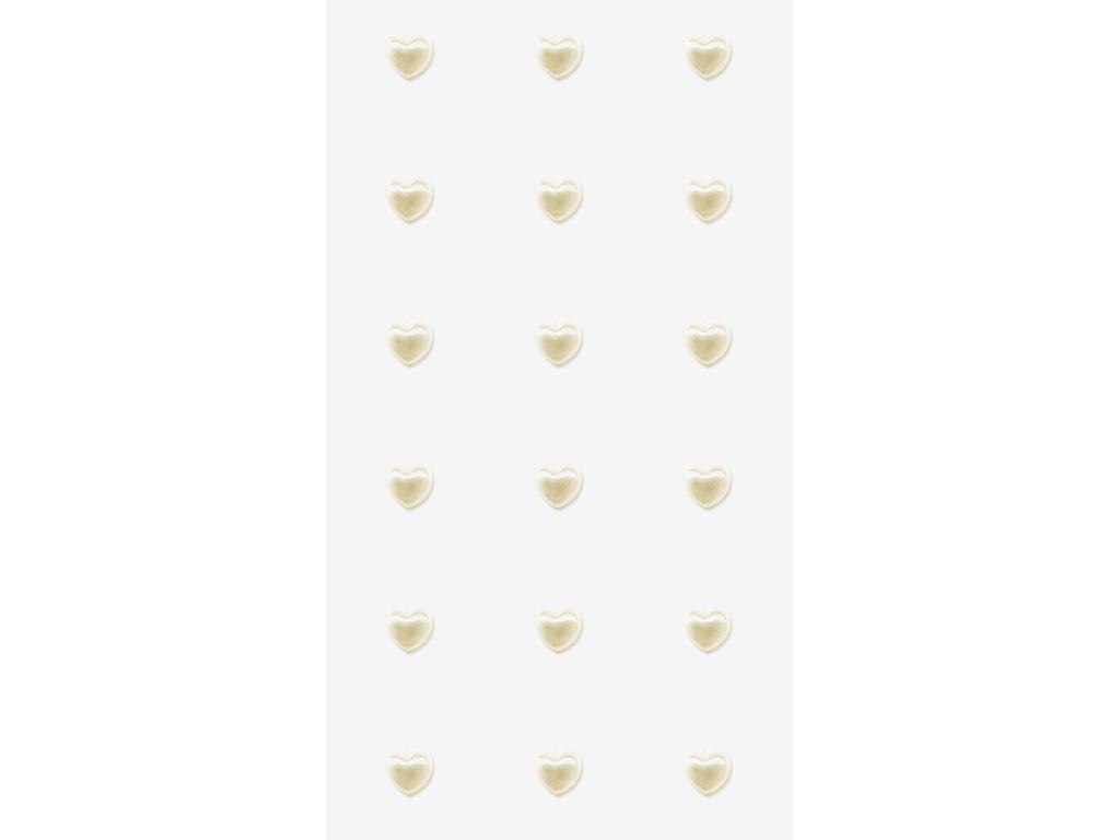 Svatební samolepky - perly srdce větší 18 ks