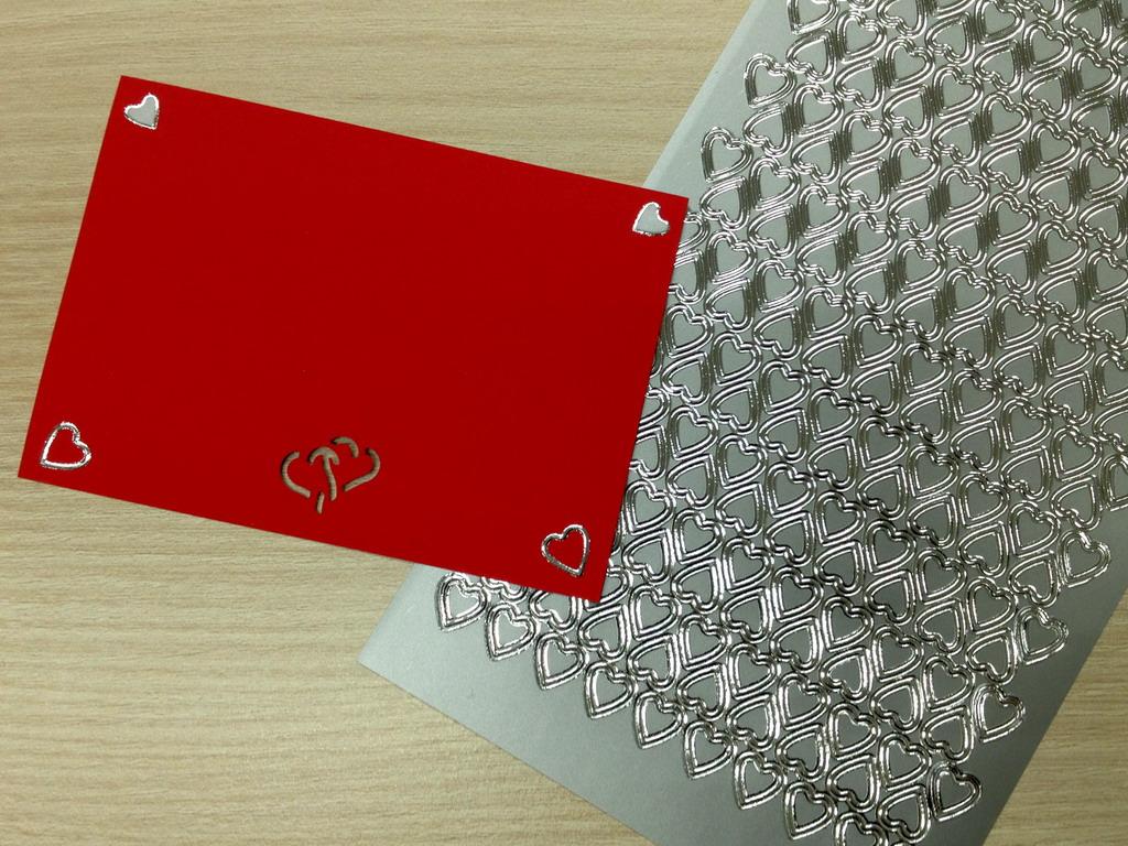 Svatební samolepky - srdíčka stříbrná 2x276 ks
