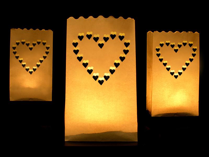 Srdcová lucerna na svíčku - stolní