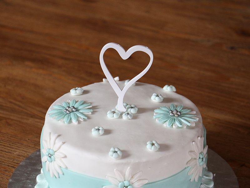 Srdce na dort - bílé