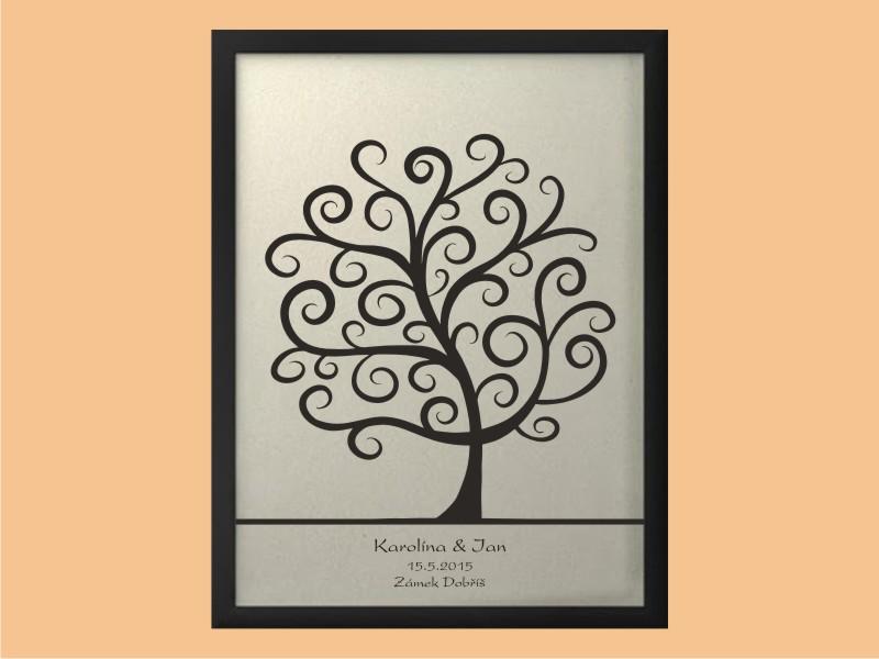Svatební strom 2 se jmény v rámu 43 x 53 cm