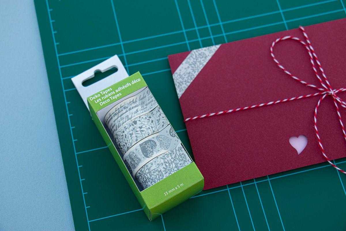 Ozdobné lepicí pásky - 4 srdcové papírové washi pásky