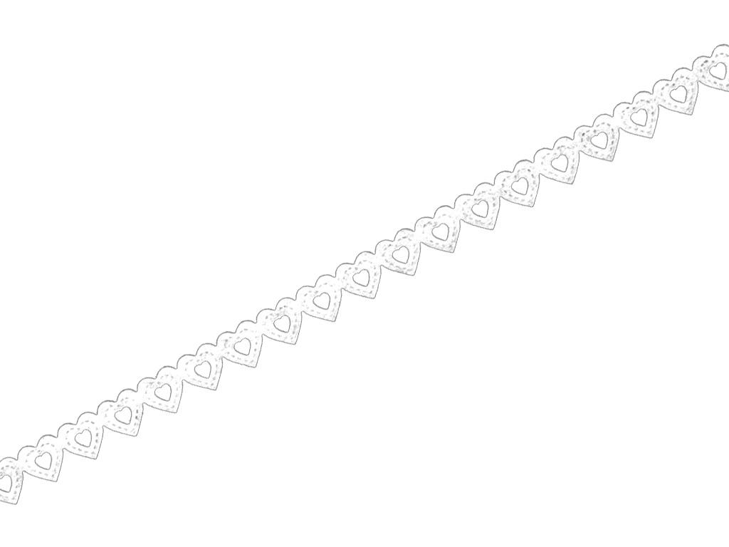 Ozdobná lepící krajková páska - bílá srdíčka