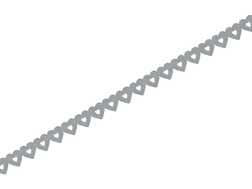 Ozdobná lepící krajková páska - stříbrná srdíčka