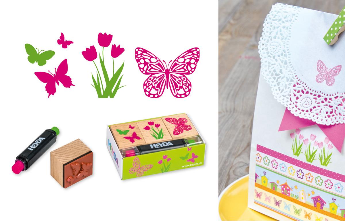 Svatební razítka - motýli s květinou