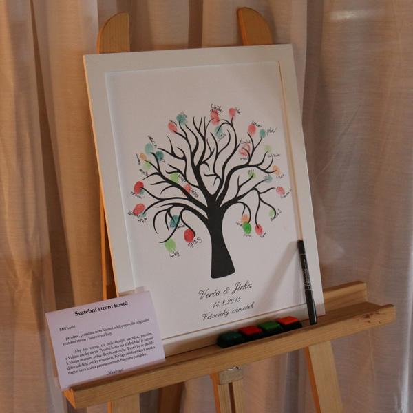 Svatební strom 1 v bílém rámu se jmény 43 x 53 cm