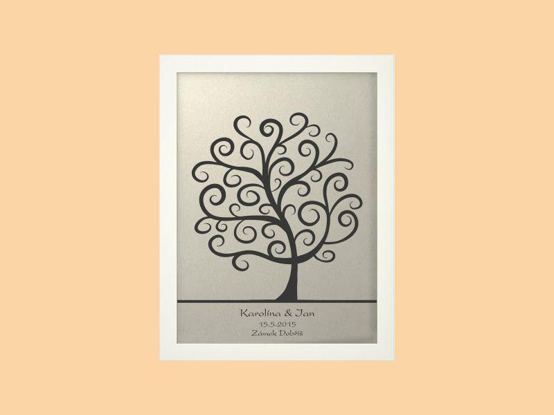 Svatební strom 2 se jmény v bílém rámu 33 x 43 cm