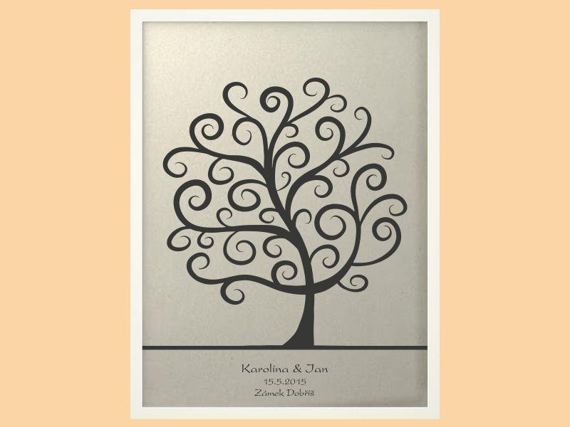 Svatební strom 2 se jmény v bílém rámu 53 x 73 cm