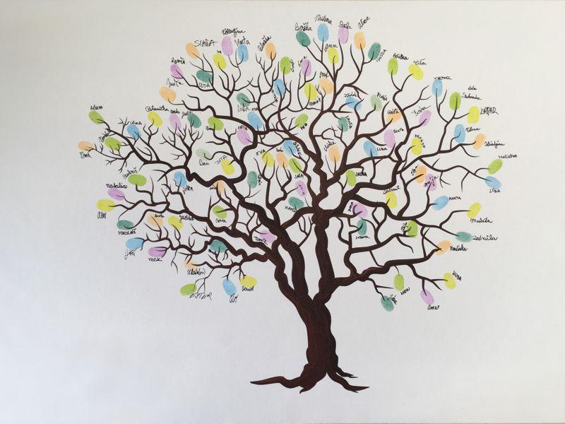 Svatební strom 3 v bílém rámu 43 x 33 cm