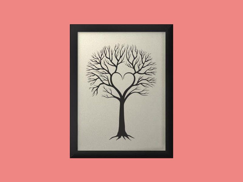 Svatební strom 4 v rámu 33 x 43 cm