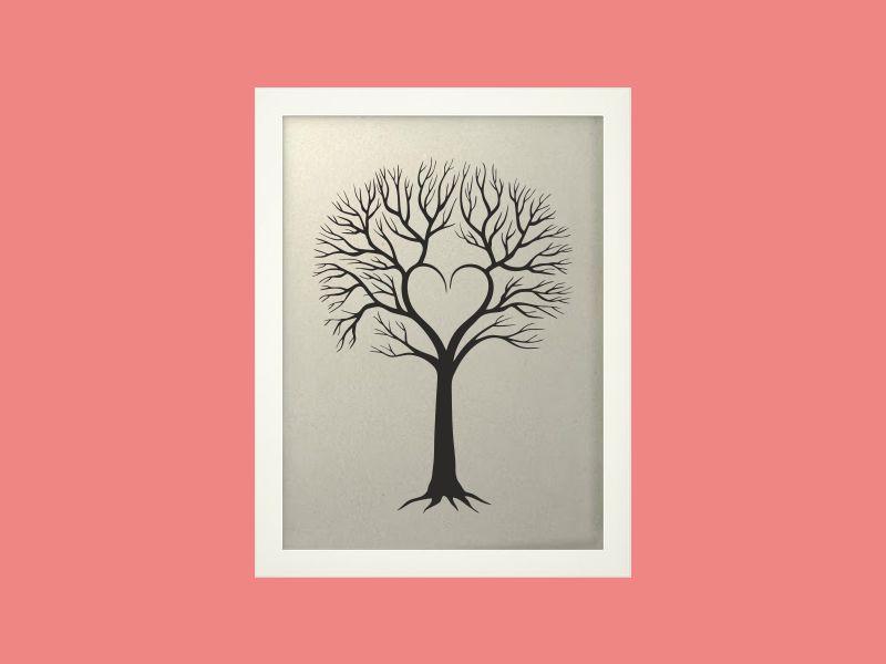 Svatební strom 4 v bílém rámu 33 x 43 cm