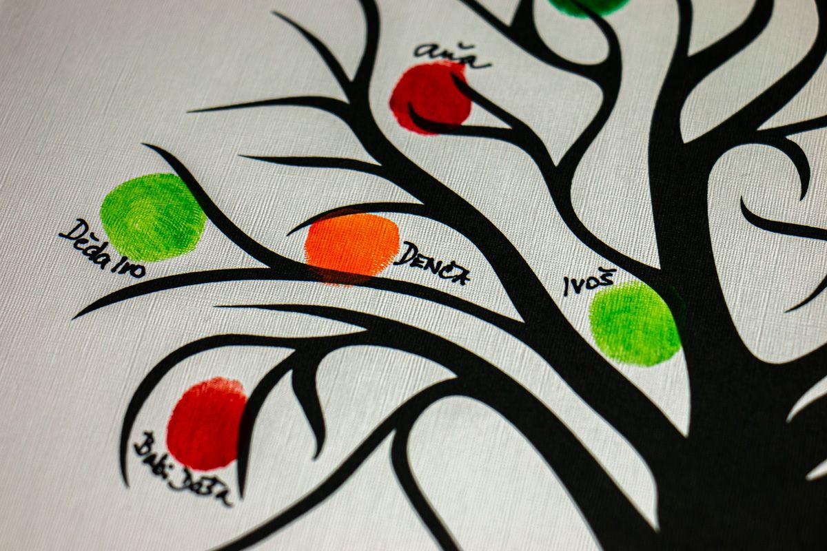 Svatební strom 4 se jmény v bílém rámu 43 x 53 cm