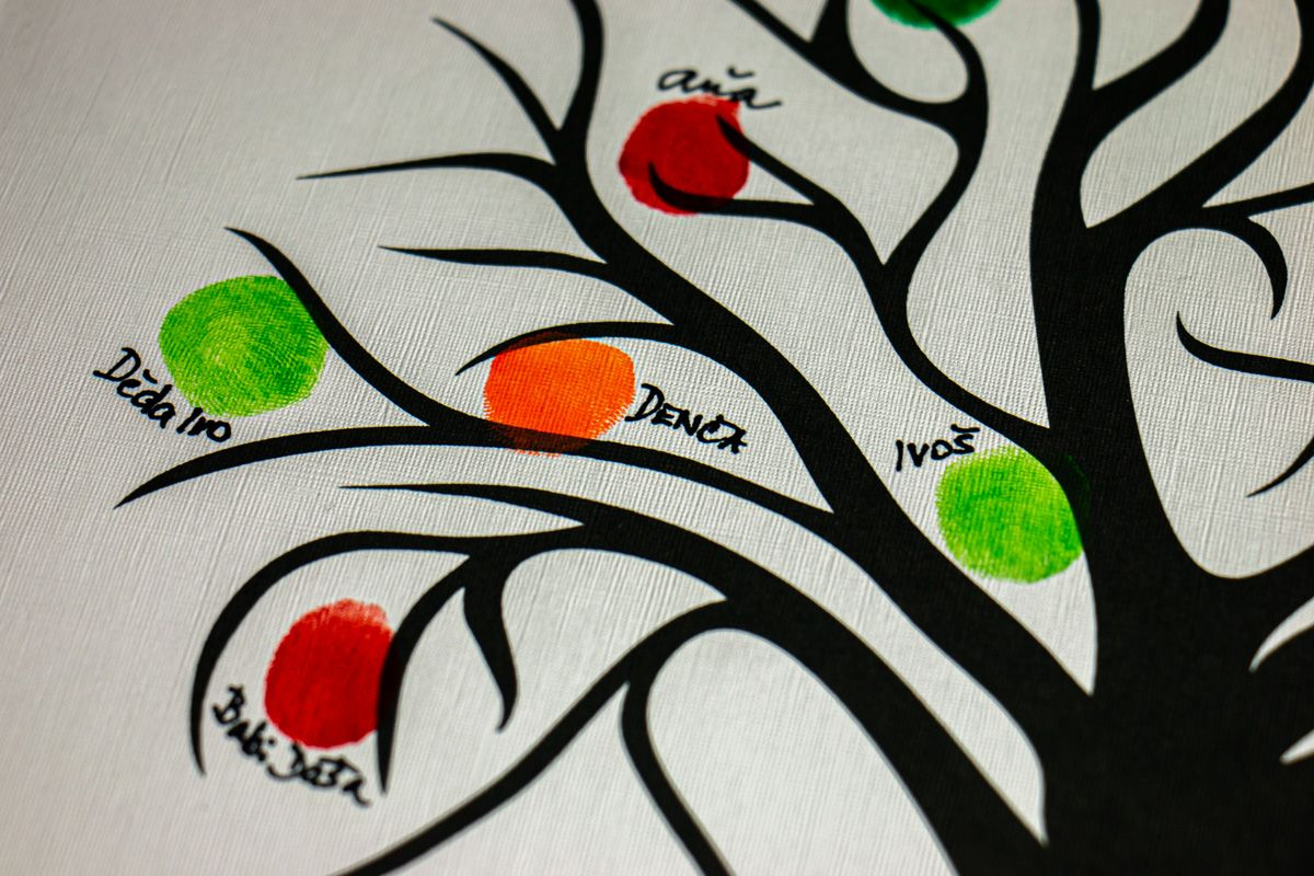 Svatební strom 4 se jmény 53 x 73 cm