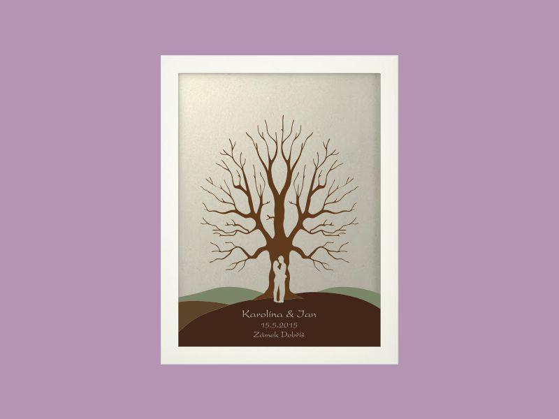Svatební strom 5 se jmény v bílém rámu 33 x 43 cm