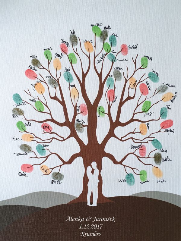 Svatební strom 5 se jmény 43 x 53 cm
