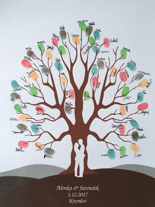 Svatební strom 5 se jmény v bílém rámu 43 x 53 cm