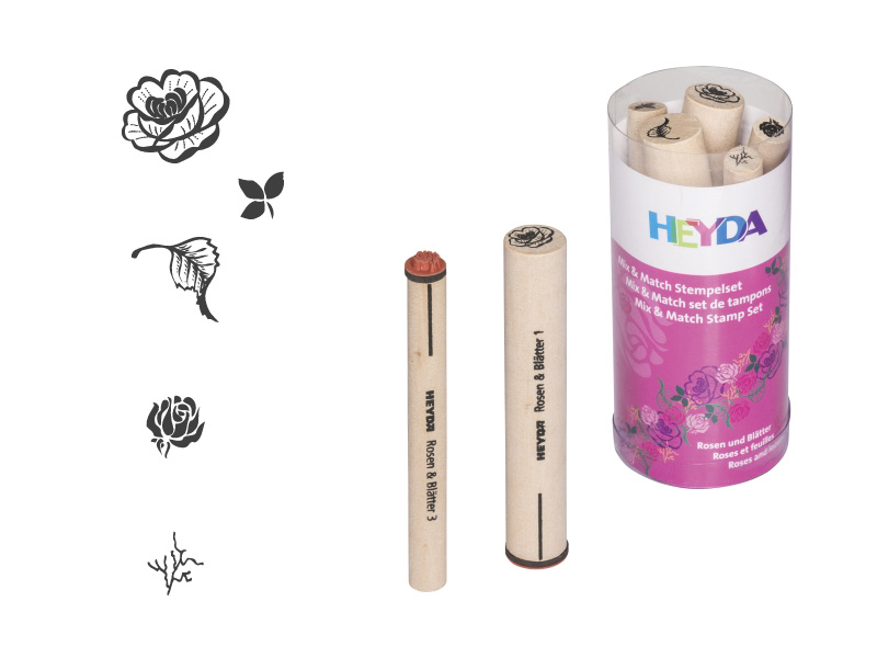 Razítka - růže a listy