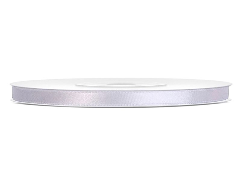 Bílé saténové stuhy - 25 m / 0,6 cm