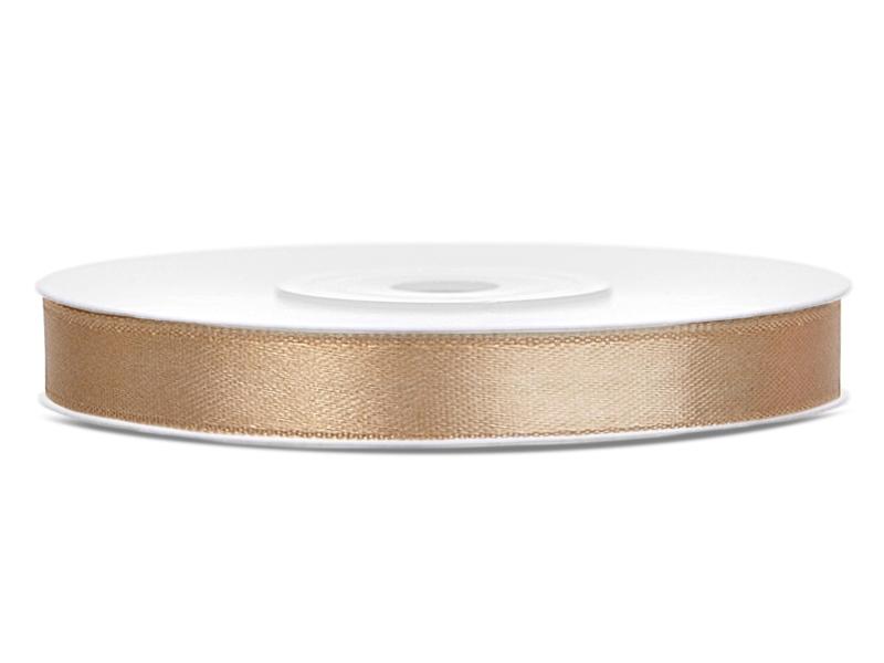 Světle zlaté saténové stuhy - 25 m / 1,2 cm