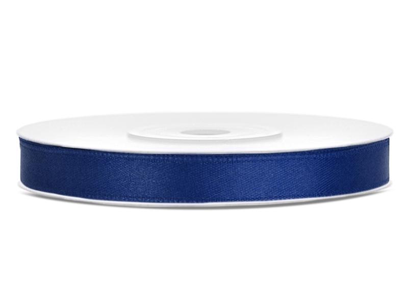 Saténové stuhy námořní modř - 25 m / 1,2 cm