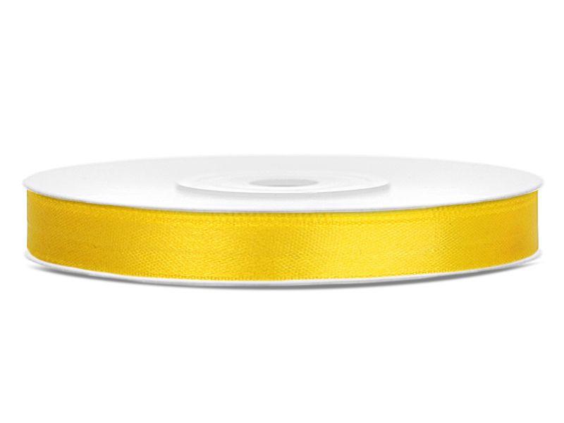 Tmavě žluté saténové stuhy - 25 m / 1,2 cm