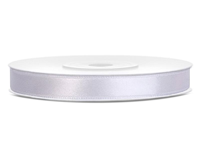 Bílé saténové stuhy - 25 m / 1,2 cm